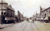 University Avenue street scene at the corner of High Street, circa 1913-1914