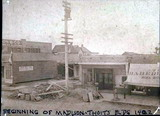 Clearing the ground for the Madison-Thoits Building, 1902