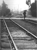 Pedestrian crossing railroad tracks at Alma Street, 1992