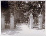 Entrance gates to the Stanford family home