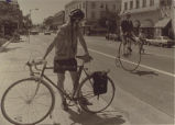 Ralph Igler riding his 54 inch Columbia (penny-farthing) bicycle down Hamilton Avenue, 1988