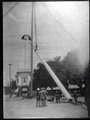 Installation of a flag pole at the circle at University Avenue and Alma Street, circa 1906